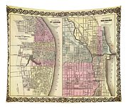 Antique Map Of Chicago And St Louis 1855 Tapestry