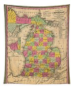 Antique Map Of Michigan 1853 Tapestry