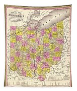 Antique Map Of Ohio 1850 Tapestry