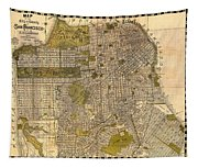 Antique Map Of San Francisco 1932 Tapestry
