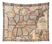 Antique Map Of The United States 1848 Tapestry