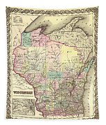 Antique Map Of Wisconsin 1855 Tapestry