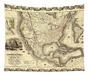 Antique North America Map Tapestry