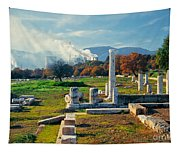 Antique Pillars And Power Plant Megalopoli Greece Tapestry