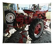 Antique Tractor Hiding In The Shadows Tapestry