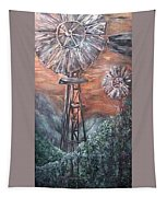 Antique Windmills At Dusk Tapestry