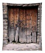 Antique Wood Door Damaged Tapestry