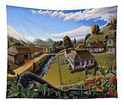 Appalachia Summer Farming Landscape - Appalachian Country Farm Life Scene - Rural Americana Tapestry