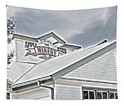 Apple Barn Winery Sign In Grayscale Tapestry