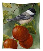 Apple Chickadee Greeting Card 2 Tapestry