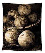 Apple Still Life Black And White Tapestry