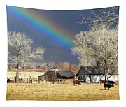 Approaching Storm At Cattle Ranch Tapestry