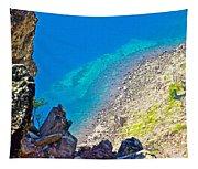 Aquamarine Shoreline At North Junction Of Crater Lake In Crater Lake National Park-oregon Tapestry