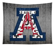 Arizona Wildcats College Sports Team Retro Vintage Recycled License Plate Art Tapestry