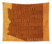 Arizona Word Art State Map On Canvas Tapestry