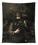 Army Soldier With Security Screen Saver Tapestry