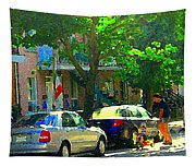 Art Of Montreal Day With Daddy And Yellow Wagon Zooming Our Streets Of Verdun Scene Carole Spandau  Tapestry