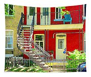 Art Of Montreal Upstairs Porch With Summer Chair Red Triplex In Verdun City Scene C Spandau Tapestry