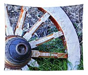 Artful Wagon Wheel Tapestry