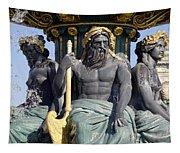 Artwork On The Public Fountains At Place De La Concorde In Paris France Tapestry