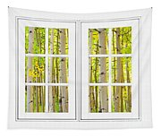Aspen Forest White Picture Window Frame View Tapestry