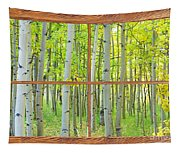 Aspen Tree Forest Autumn Picture Window Frame View  Tapestry