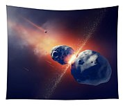 Asteroids Collide And Explode  In Space Tapestry