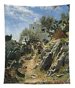 At Noon On A Cactus Plantation In Capri Tapestry