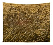 Atlanta Georgia City Schematic Street Map 1892 On Recovered Worn Parchment Paper Tapestry