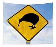 Attention Kiwi Crossing Road Sign Tapestry