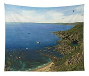 August Afternoon At Whitsand Bay Cornwall Tapestry