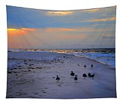 August Beach Morning With The Sea Gulls Tapestry