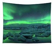 Aurora Borealis Above Jokulsarlon Tapestry