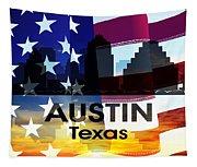 Austin Tx Patriotic Large Cityscape Tapestry