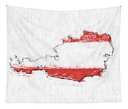 Austria Painted Flag Map Tapestry
