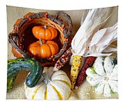 Autumn Basketful With Corn Tapestry