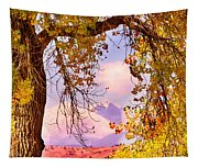 Autumn Cottonwood Twin Peaks View Tapestry