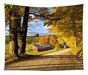 Autumn Farm In Vermont Tapestry