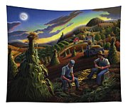 Autumn Farmers Shucking Corn Appalachian Rural Farm Country Harvesting Landscape - Harvest Folk Art Tapestry