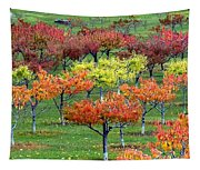 Autumn Hillside Orchard Tapestry
