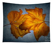 Autumn Leaves On Blue Tapestry