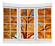 Autumn Maple Tree View Through A White Picture Window Frame Tapestry