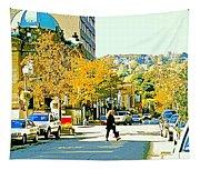 Autumn On Mount Royal Greene Avenue Westmount Near Sherbrooke October Montreal City Scene Tapestry