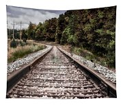 Autumn On The Railroad Tracks Tapestry