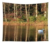 Autumn Pond Sunset With Swan Tapestry