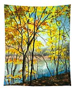 Autumn River Walk Tapestry