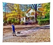 Autumn - Walking The Dog Tapestry
