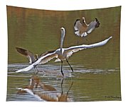Avocets Chase Off The Egret Tapestry