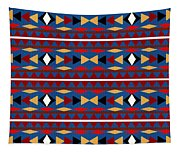 Aztec Blue Pattern Tapestry