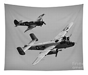 B-25 And Escort Bw Tapestry